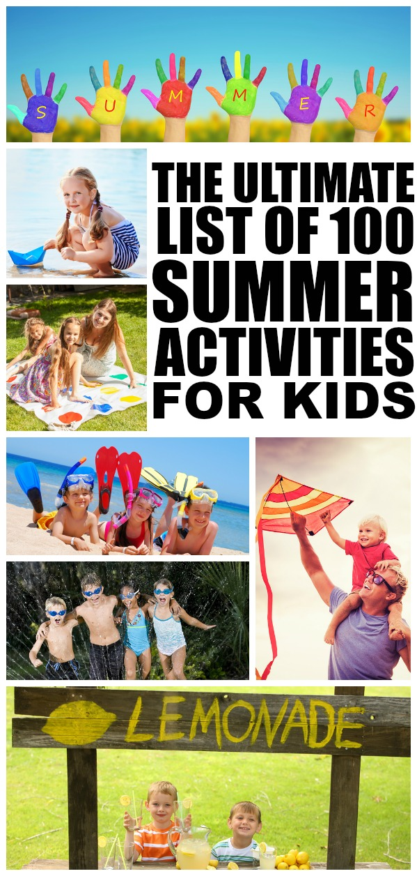 Whether you want to spend time outdoors or indoors, need cheap and free ideas or have a ton of disposable income at your hands, this collection of fun and easy at home summer activities for kids is your ticket to keeping your little ones from climbing the walls this summer. With 100 different ideas to choose from (some educational, so just plain old fun), there's something here for every age group - toddlers, preschoolers, kindergarteners, and elementary school kids. Here's to a fabulous summer!