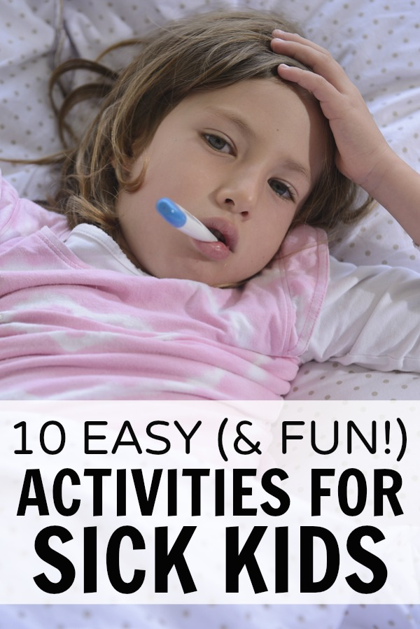 Looking for sick day activities for kids to keep you and your little ones from climbing the walls when they're too sick to go to school, but not sick enough to spend the day in bed? We've rounded up 10 fabulous and fun DIY activities you and your children can enjoy at home over a cup of chicken noodle soup. Perfect for toddlers, preschoolers, and kindergarteners, these activities will be a lifesaver this cold and flu season!