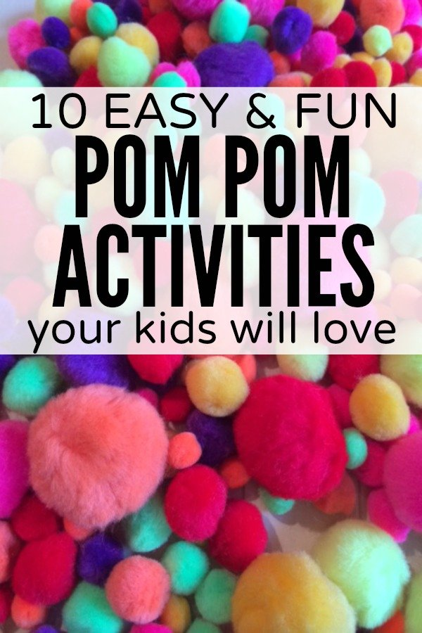 If your child likes playing with pom poms as much as my daughter does, and you're looking for fun and easy ways to keep her entertained, you will love this collection of pom pom activities for kids!