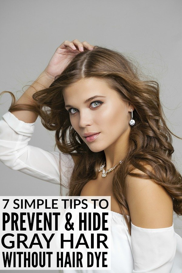 Whether you're just starting to go grey, or have been plucking silver strands from your head for years, this is a fabulous collection of DIY remedies to help you hide grey hair without permanent hair color. We've included fabulous hair products and hair tips to help you get to the root of the problem so you can prevent grey hair from taking up residence on your head in the first place.