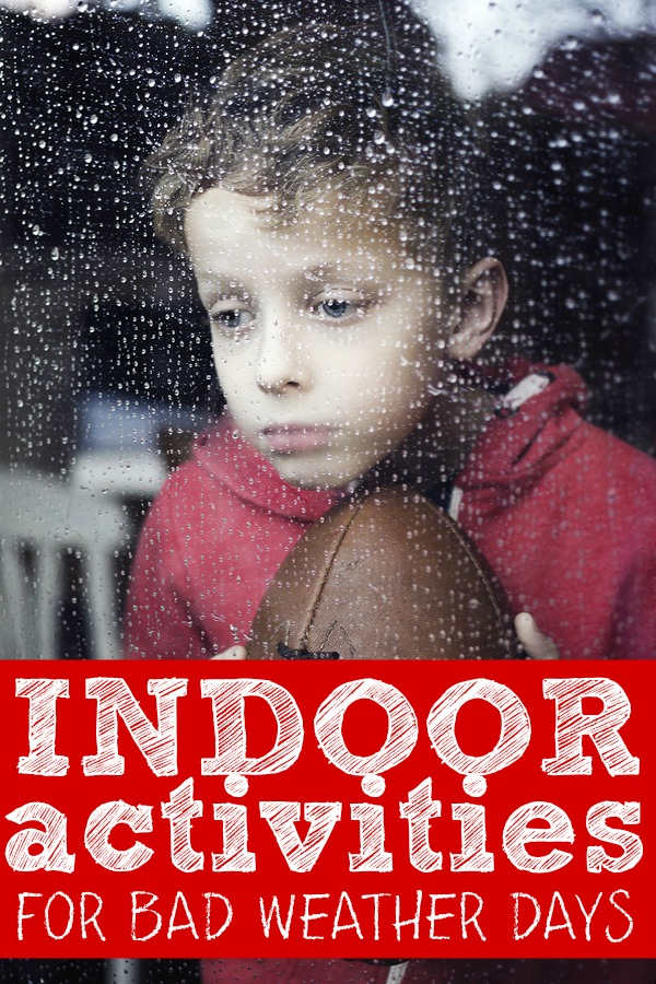 Bad weather got you down? Check out this collection of indoor activities for kids! Whether you're cooped up with your toddler or preschooler on a wet rainy summer day, or need ideas to keep your little ones occupied when school's out and they're threatening to climb the walls, there are heaps of DIY crafts, games, obstacle courses, and scavenger hunts to take the blah out of being stuck at home. Here are 25 of our favorites!