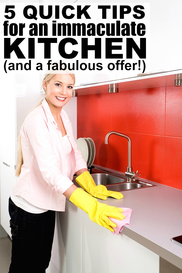 If you love the look and feel of a clean kitchen, but don't have a ton of time to devote to scrubbing and soaking and bleaching, this collection of 5 quick tips for an immaculate kitchen is for you! I would be lost without number 5, and love the awesome offer that's included at the end of the post!