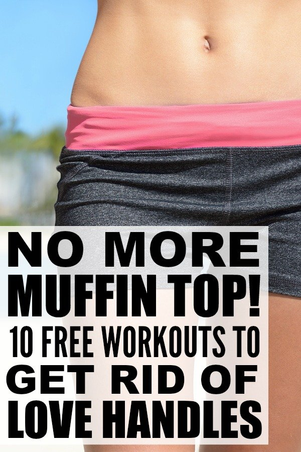 Trying to get rid of your love handles but don't want to spend HOURS at the gym? Check out this collection of the best at-home muffin top exercises and learn how to get rid of love handles FAST. Perfect for beginners, these workouts require no equipment and make one of many great 30 day challenges you can take to transform your body from obese to svelte. Make sure to take before and after pictures to track your results!