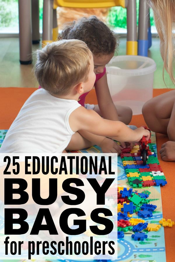 If you're looking for quiet activities to keep your kids entertained on bad weather days, sick days, or on those long afternoons when you just need a little time to yourself, this collection of busy bags for preschoolers is a great place to start. There are so many different educational activities for kids in this list, and most of these ideas are pretty easy to recreate. Good luck and have fun!