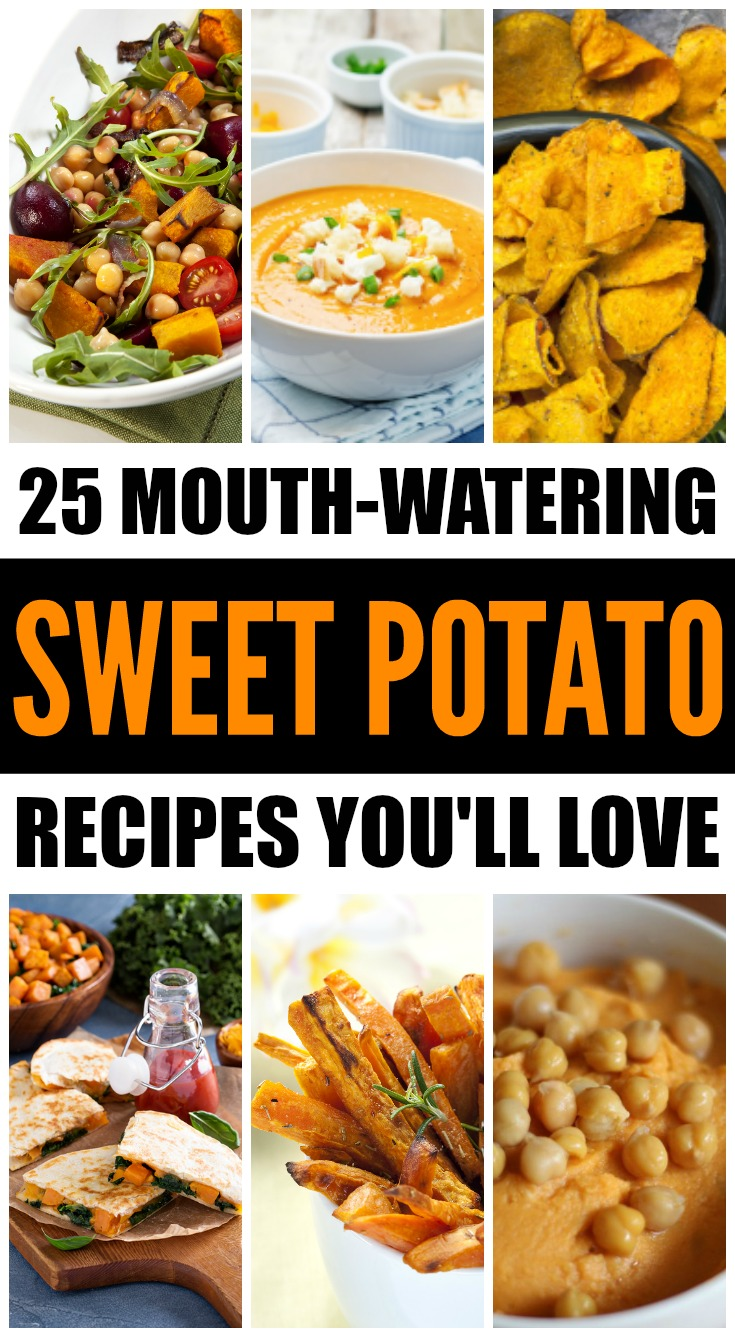Whether you enjoy your sweet potatoes roasted, baked, mashed, pureed in a soup, or candied in a dessert, this collection of sweet potato recipes offers an easy way to load up on this superfood that's loaded with Vitamin D (good for immunity) and fiber (great for weight loss). From decadent sweet potato fries and chips to quinoa bowls, curries, and burritos, these recipes will NOT disappoint!