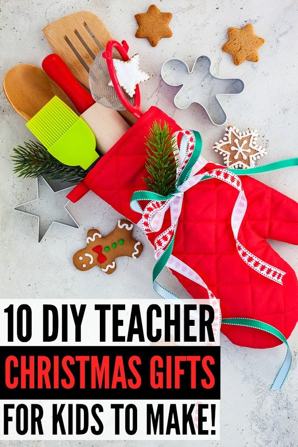 Looking for the perfect DIY teacher Christmas gifts to make with your little ones? We've got you covered. We've rounded up 15 simple and easy (and cheap!) gift ideas for kids to make. From Hot Chocolate Kits and fabulous Pampering in a Jar ideas (think: sugar scrubs, lip balms, and manicure sets) to a gorgeous DIY Crayon Wreath and a helpful Supply Christmas Tree, these are gifts teachers will appreciate and love!