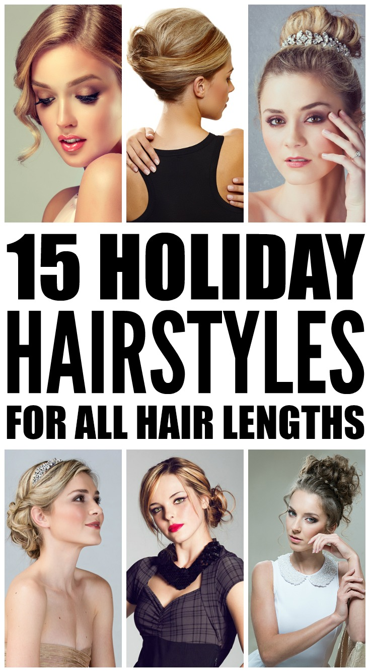 Looking for the perfect DIY holiday hairstyles to dress up your favorite LBD? We've got you covered. Whether you have short, shoulder-length, medium, or long hair, prefer simple half-up looks with curls or like to sport something a little more complicated with bangs and braids, we've rounded up 15 simple, easy, and elegant holiday hairstyles to get you from Christmas right through to wedding season. Full step-by-step tutorials included!