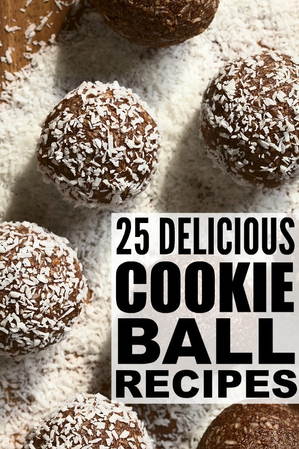 Cookie balls. We love them! From no bake monster cookie balls and glutinous peanut butter Oreo cookie balls, to classic chocolate chip cookie dough to healthy coconut vegan, we've rounded up 25 of our favorite cookie balls recipes for Christmas, Valentine's Day, and everything in between!