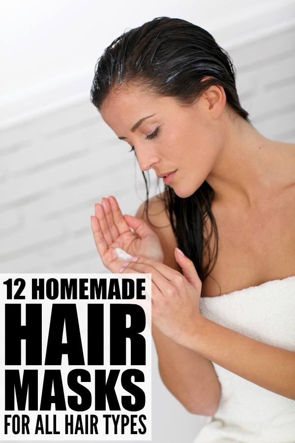 If you're looking for a moisturizing DIY hair mask for damaged hair, or want some homemade options for hair growth, for split ends, or for dandruff, this collection of 12 hair masks for all hair types is a great place to start. These recipes are simple and easy to make, and by using items you already have in your kitchen (coconut oil, eggs, banana, avocado, etc.), they offer a cheap alternative to expensive store-bought products. Beautiful, shiny hair has never been easier!