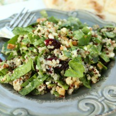 Spinach and Quinoa Salad with Toasted Cashews and Dried Cranberries