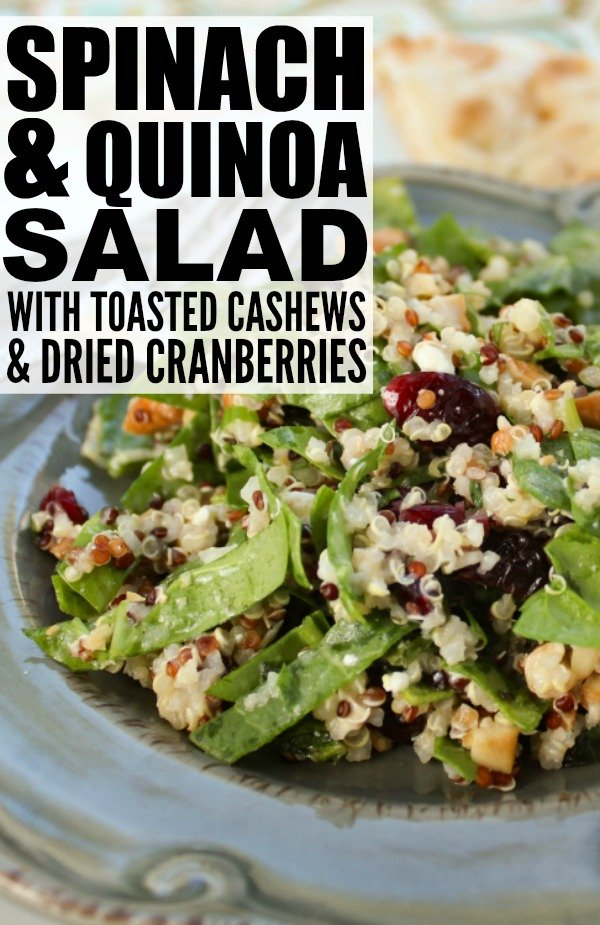 Quinoa is a gluten-free nutritional powerhouse that is loaded with fiber, protein, and essential minerals like magnesium, potassium, iron, and zinc, and it's a fabulous food to incorporate into your diet when you're trying to lose weight. This Spinach and Quinoa Salad with Toasted Cashews and Dried Cranberries makes a fabulous post-workout meal, and is by far one of my favorite quinoa recipes!