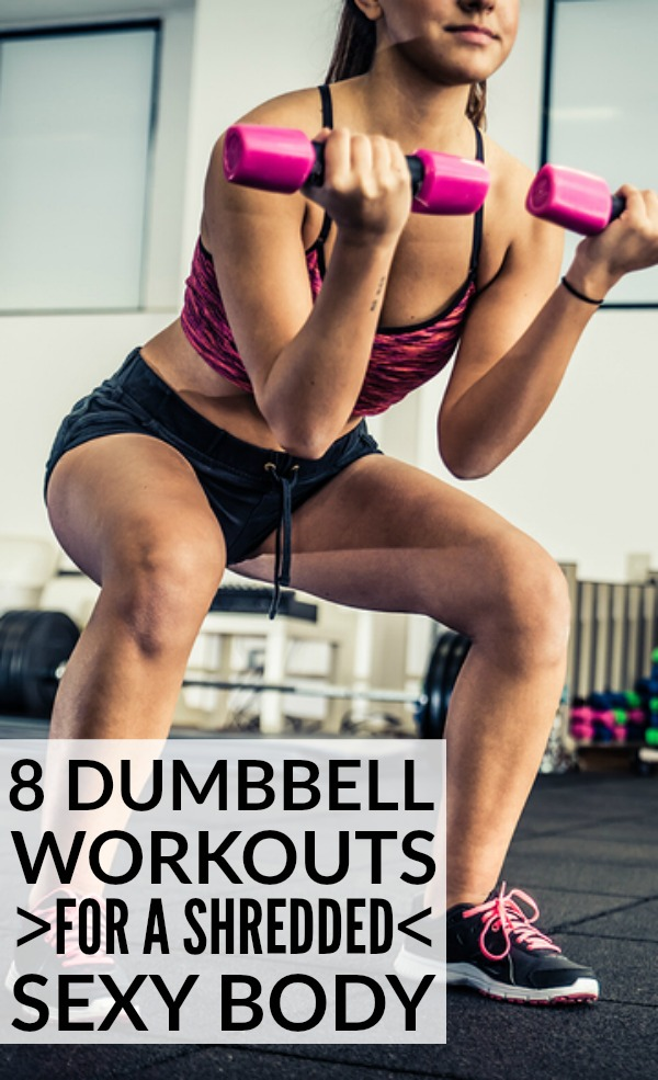 This collection of dumbbell exercises has everything you need for a full-body workout. You'll learn how to work your biceps, triceps, and forearms, a few great ab workouts, how to get lean and sexy legs, and some great back, chest, and core exercises. Remember: while cardio is a great way to lose weight, strength training builds muscle, increases your metabolism, and allows your body to burn MORE calories, so it should not be overlooked!