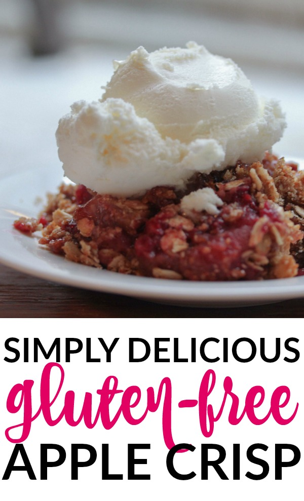 This gluten free apple crisp is a little different from your standard apple crumble. For starters, it's quite low in sugar, which is not typical of traditional crisp recipes. It also contains raspberries, which are the perfect tart compliment to the sweetness of the apples. And while this is a fabulous gluten-free dessert, you can easily use regular oats if you don't have a gluten allergy. Enjoy!