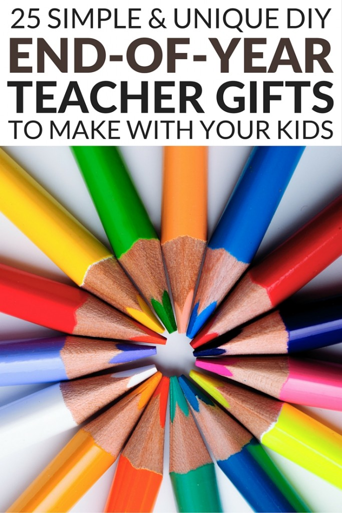 If you're looking for the perfect DIY end of year teacher gifts to make with your kids, you've come to the right place! We're sharing 25 unique and inexpensive gifts from students you can make from the comfort of your own home with your little ones, and if you have an extra special teacher, some of these can also work as gifts from parents. Some of these gift ideas are perfect for preschool/kindergarten teachers and others will work all the way through grade school. We really love #15!