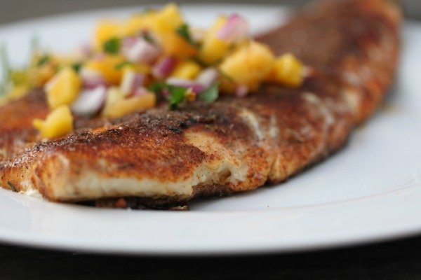 Blackened whitefish recipe with peach salsa for Grilled white fish recipes