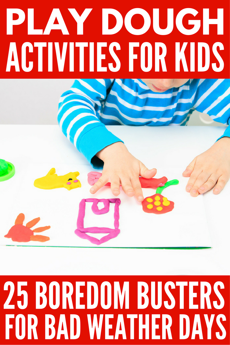 Looking for fun and exciting learning activities your children can enjoy when they're cooped up at home? We've got 25 awesome play dough activities for kids that make the perfect boredom busters for bad weather days. Whether you're the mom of toddlers or school-aged kids, prefer homemade play dough or store-bought options, want some good science experiments to do with baking soda and corn starch, or need a good slime recipe, this collection of play dough activity ideas is for you!
