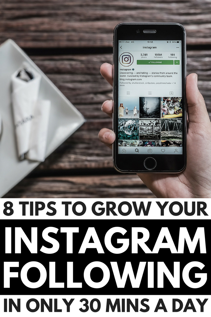 Want to know how to grow your Instagram following in less than 30 minutes a day?! We've got you covered. We're sharing 8 of our best social media tips to show you how to get more followers in less time. From using hashtags and reposting other people's content, to giveaways, photo contests, and Instagram stories, we'll teach you how to create a killer Instagram strategy for serious results!