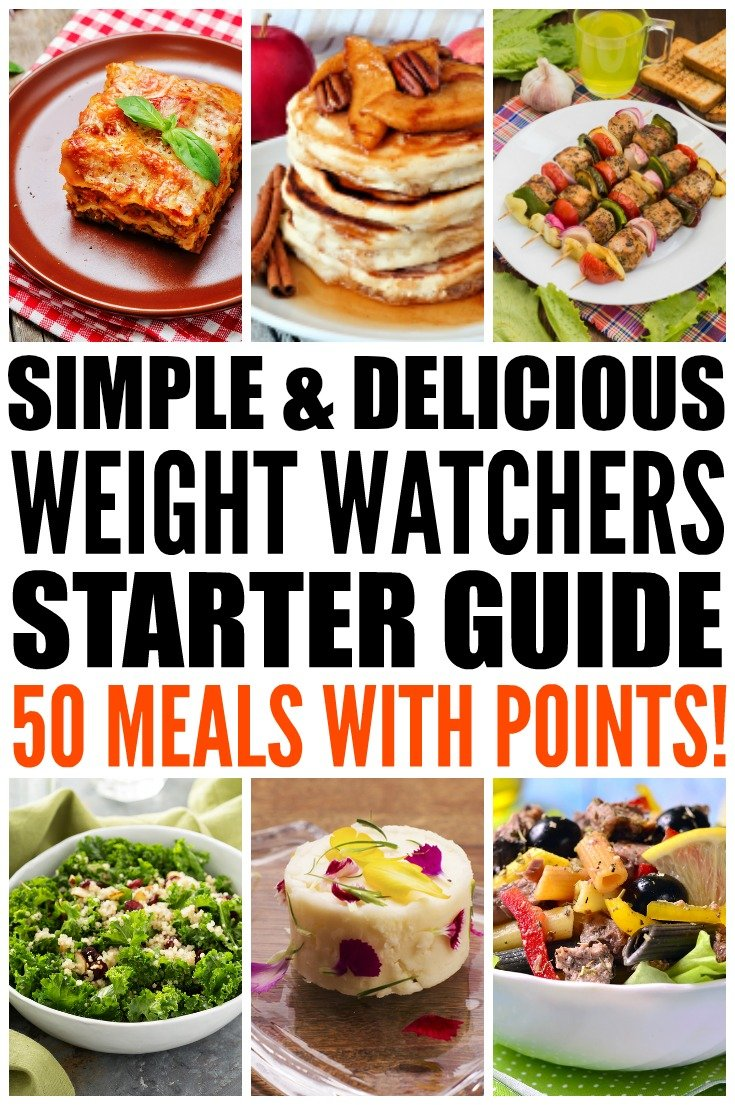 Looking for simple Weight Watchers meals with points to help make your weight loss plans as easy and delicious as possible? We've rounded up 50 fabulous meals for breakfast, lunch, dinner, and dessert, and even threw in a few appetizers for good measure! Each recipe includes the total points (or SmartPoints, where applicable) and we've included a wide variety of ingredients (chicken, ham, vegetarian) as well easy make ahead and crockpot options to make weight loss as easy as can be.