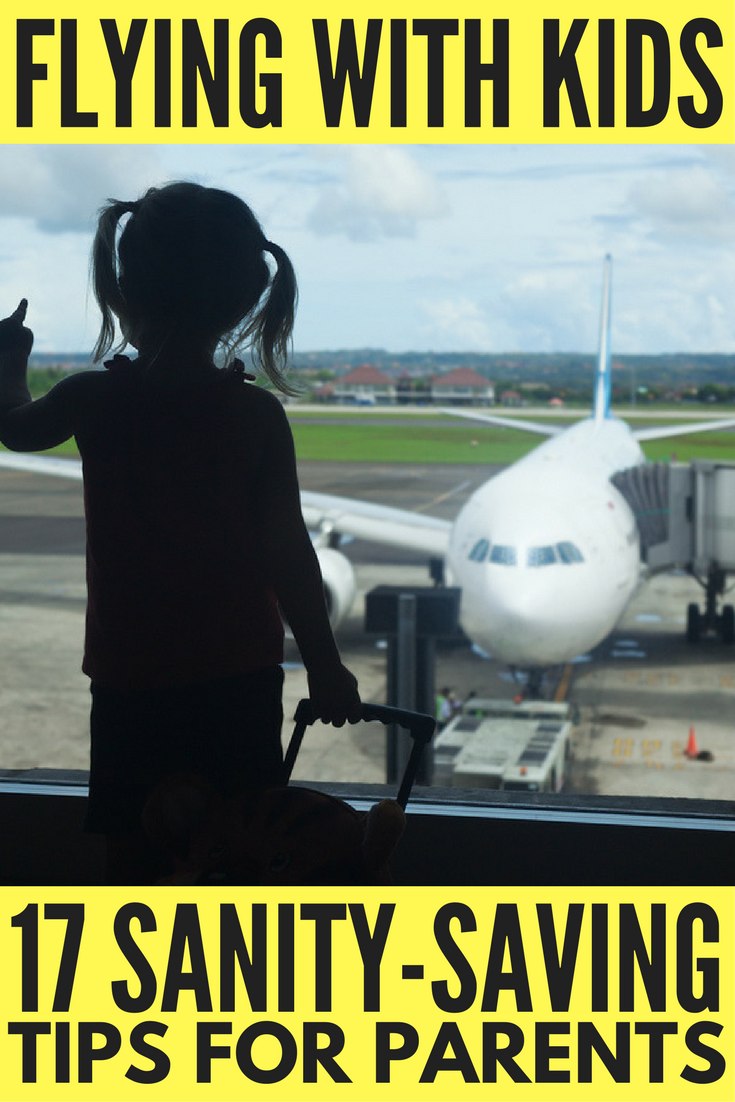 If you're flying with kids in the near future, you need to read this collection of sanity-saving travel tips! Whether you're traveling with your baby for the first time, need carry on packing lists to help prepare for every eventuality, want a list of good activities to keep your toddler and school-aged children happy, need snack (and snack storage) ideas, or simply want tips to help make long flights and international travel more bearable, we've got you covered with this collection of 17 practical tips to make air travel with small children easier!