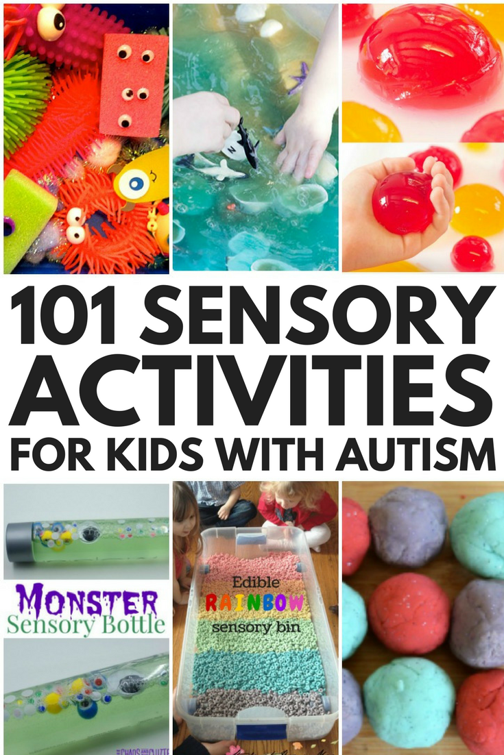 Whether you're looking for sensory play activities for babies, toddlers, preschoolers, kindergarteners, or school-aged kids, we've got you covered. Perfect for at home or in the classroom, we've collected 101 sensory activities for kids with autism and special needs to help them calm down, stimulate their senses, develop their social skills, language skills, fine motor skills, gross motor skills, and self-control skills, as well as increase their attention span and help them learn!