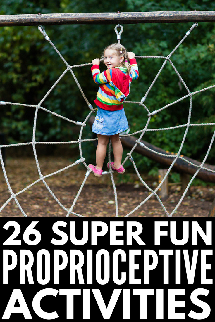 26 Proprioceptive Exercises for Kids | If you're looking for sensory integration activities for kids with autism and sensory processing disorder, we're sharing our favorite occupational therapy approved ideas that are perfect for at home, in the classroom and the school playground, and beyond. Perfect for teaching and developing motor skills in children, these proprioceptive activities feel more like play than work!