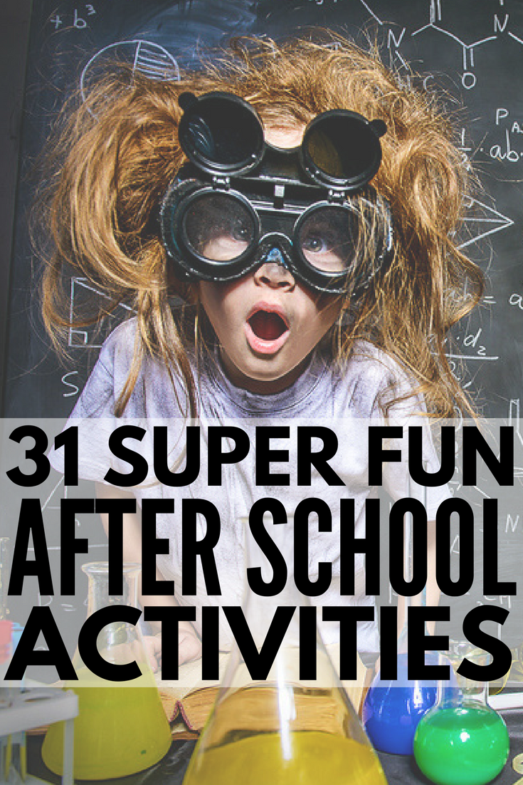 31 After School Activities for Kids! Looking for fun crafts, games, activities and lesson plans to keep busy girls and boys entertained at home after school (or while at daycare)? We've got 31 super fun ideas to keep kids learning and help them blow off steam once their homework is done, and we've included a few ways you can spend quality time with your kids to boot!