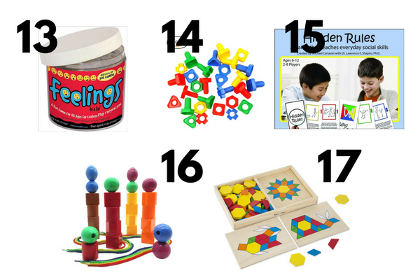 17 Developmental Toys for Autistic Children | The ultimate gift guide for kids with autism! If you have a child or student with special needs who struggles with gross or fine motor skills, hand eye coordination, social skills, language development, and/or sensory processing disorder, these fun learning activities, games, and toys are worth the investment!