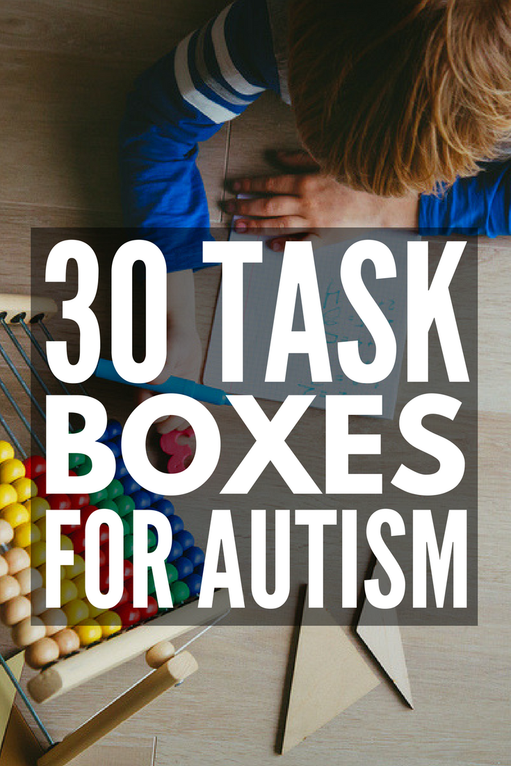 30 Task Boxes for Autism | Looking for shoebox tasks for autism to support your special needs curriculum? From developing fine motor skills, letter and number recognition, sight words, sorting, sequencing, reading, and math, these teacch tasks will help develop important life skills in early childhood, preschool, high school, and beyond.