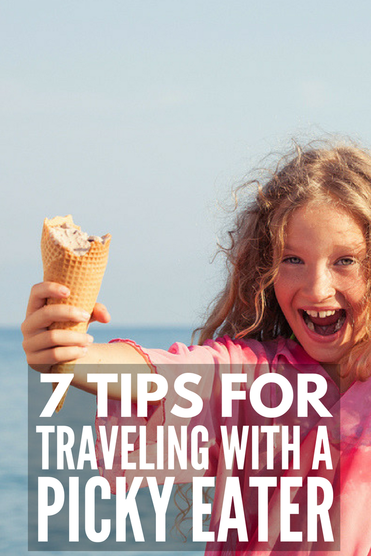 Traveling with a Picky Eater | Traveling with kids on a plane or in a car can be stressful enough, and when you throw picky eating into the mix, it can feel downright overwhelming. We're sharing 7 simple tips to help make picky eating more manageable for parents when you and your family are away from home.