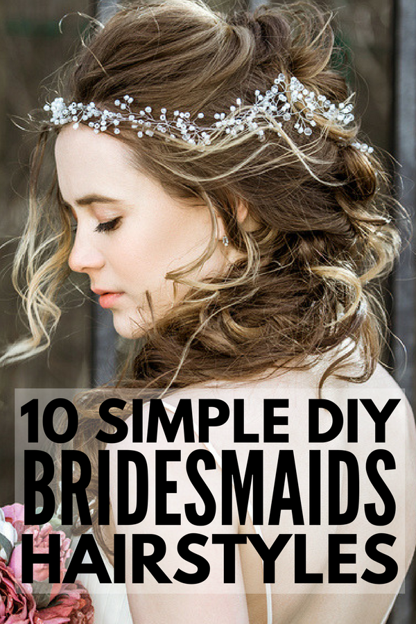 Easy DIY Bridesmaid Hairstyles | If you're looking for the perfect updo or half up bridesmaid hair ideas for medium length or long hair, we've rounded up 10 simple styles you can create at home. Perfect for brunettes and blondes, straight hair, curly hair, and hair with natural waves, these classic, vintage, and boho updos will take your look from good to gorgeous in time for summer wedding season!