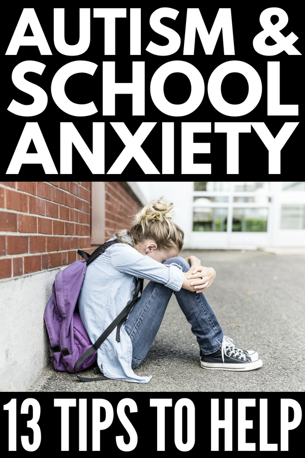 Autism and School Anxiety | 13 tips and coping skills to help kids with Asperger syndrome, autism, and sensory processing disorder handle feelings of anxiety and overwhelm in the classroom (and beyond). We've included tips for teaching students with autism as well as our favorite products and ideas to help parents empower their anxious kids and teach appropriate self-regulation at school and at home.