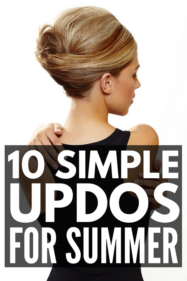 10 Simple Updos for Shoulder Length Hair | Looking for an easy updo for a wedding, prom, or date night? Whether you have curly or straight hair, this collection of simple and cute hairstyles for medium hair will not disappoint. From a casual half up, to a fold over 'with bangs' twist, to an elegant side French braid ponytail, to the perfect messy bun, there's a step-by-step hair tutorial for every occasion!