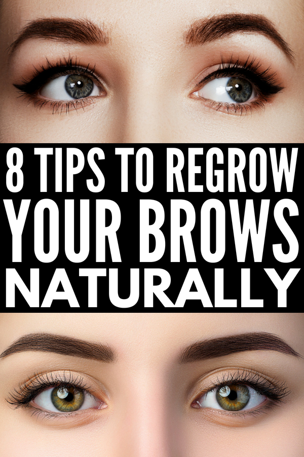 How to Grow Eyebrows Fast | 8 natural tips and 20 products to teach you how to grow your brows (and eyelashes) back faster, thicker, and fuller. While these natural DIY hair growth remedies and serums won't work overnight (or in a day), you'll probably start seeing results in a week! #eyebrows #brows #hairgrowth #makeup #makeuptips #makeuphacks