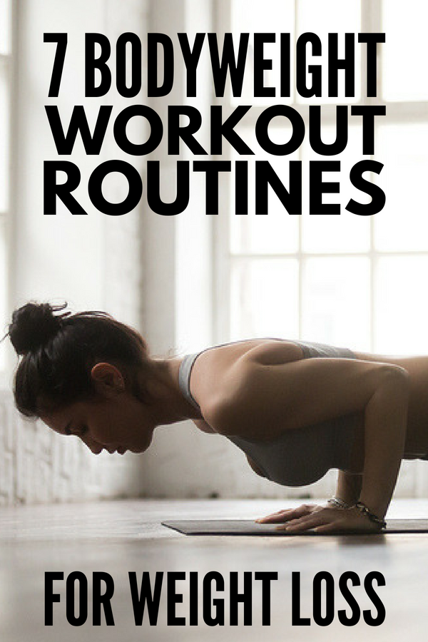 7 Bodyweight Workout Routine Ideas for Beginners | Perfect for women and men, these free exercise routines will teach you how to complete a full body workout at home to sculpt and tone your body while also losing weight. These no equipment exercises include HIIT and can be intense as you want them to be, and they will target your arms, legs, core, upper body, abs, and glutes. #bodyweight #fitness #workout #loseweight #cardio #exercises #HIIT #womensworkout #femalefitness