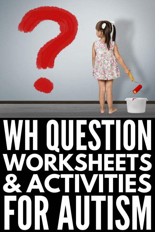WH Question Exercises for Kids with Autism | 15 fun speech therapy activities to improve language development and help making teaching reading comprehension easier. Perfect for kids in preschool, kindergarten, elementary, and middle school, this collection of WH question activities and worksheets can also be used at home and in the classroom. #WHquestions #speechtherapy #speechtherapyactivities #SLP #autism #ASD