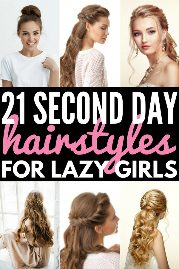 21 Easy Second Day Hair Hacks and Hairstyles | Looking for quick and easy hairstyles for short hair, shoulder length hair, medium hair, or long hair? Need hair hacks and products to make thin, straight hair less greasy and oily and remove frizz from curls? From half-up updos to sleek ponytails to messy braids and buns, these running late hairstyle tutorials are perfect for work and school! #hair #hairhacks #hairproducts #hairstyles #updos