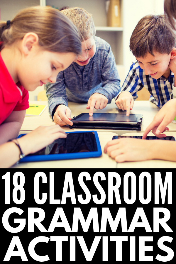 18 Grammar Games for Kids | Looking for grammar lessons to use in elementary school, middle school, and/or high school students to help improve their vocabulary and language skills? This collection of simple yet fun ideas for 3rd grade and beyond will take the yawn out of teaching verbs, nouns, pronouns, and adjectives, verb tenses, and the different parts of speech. Who said language arts has to be boring?! #grammargames #partsofspeech #languagearts #vocabularyactivities #teachinggrammar