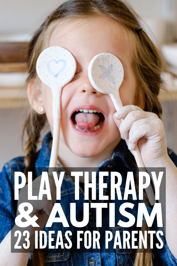 Play Therapy Techniques for Autism | Play therapy interventions offer a non-threatening way to help a child work through anxiety and trauma, but did you know it's also a great form of autism therapy? We're sharing 4 play therapy strategies plus 19 toys, activities, and games to improve pretend play, language and communication skills, emotional self-regulation, and self-control. #playtherapy #therapygames #therapyactivities #selfregulation #autism #autismtherapy #autismactivities #autismtoys
