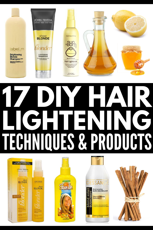 How to Naturally Lighten Hair | If you want to know how to lighten hair naturally with lemon, cinnamon, apple cider vinegar, chamomile, vitamin C, and other products you already have lying around the house, these tips, techniques, and hair lightening products will teach you how to get lighter locks overnight without damage (and without spending hours in the sun!). #howtolightenhair #naturalhighlights #hairremedies #naturalremedies #DIYhair #DIYhaircolor