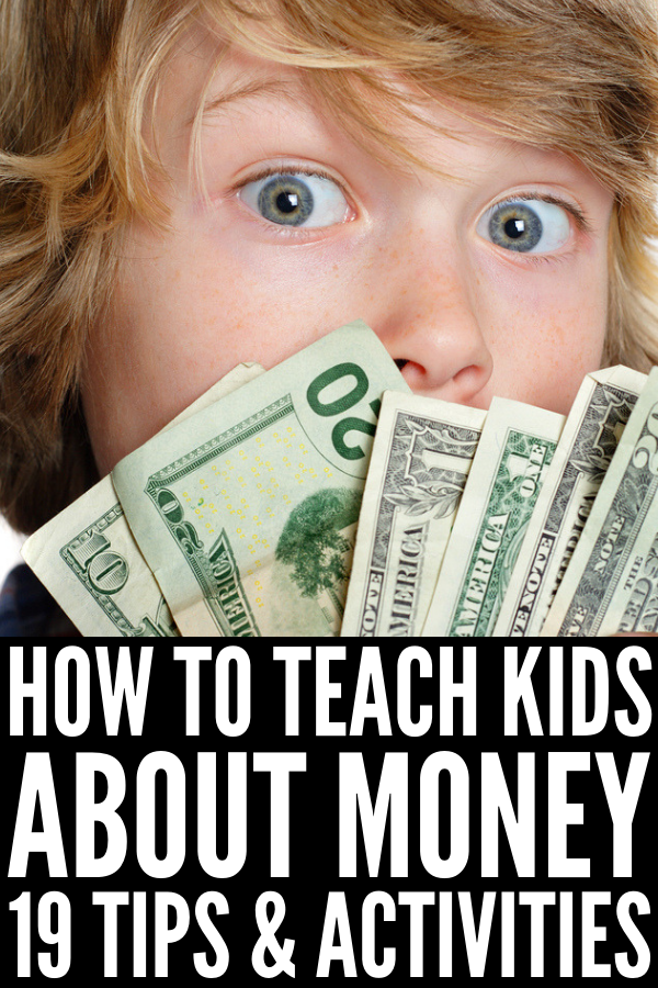 How to Teach Kids About Money | If you're looking for learning ideas to help you teach your children financial literacy, we're sharing 19 tips and activities that work. From practical tips for parents, to simple work stations for teachers, to budget-friendly games and toys, these ideas will teach your child how to be a financial superstar. #moneyactivities #teachkidsaboutmoney #financialliteracy