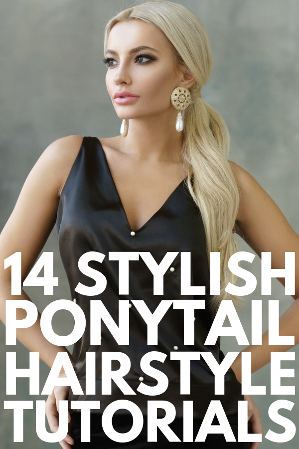 14 Ponytail Hairstyles | If you're looking for easy hairstyles for medium hair or for long hair, this collection of tutorials will inspire you! Perfect for work, a lazy day at home, or a night out with the girls, we're sharing our favorite high, low, braided, elegant, messy, and unique ponytails, along with a couple of ponytails with bangs to take your look from good to great! #ponytail #ponytailhairstyles #ponytailtutorials