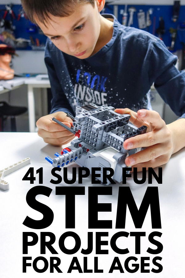41 STEM Projects for Kids of All Ages | Science, Technology, Engineering, and Math, oh my! From elementary school to middle school to high school, we've rounded up 41 simple and easy to re-create STEM activities, experiments, and projects for kids and for teens! #stemeducation #stemactivities #steamactivities #steameducation