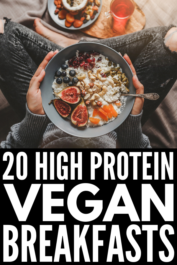 20 High Protein Vegan Breakfast Ideas | Looking for healthy cleaning eating vegan breakfast recipes to fuel your mornings? Whether you're looking for on the go options (protein smoothies, breakfast sandwiches, quinoa bowls, smoothie bowls, protein muffins) or prefer something heartier at home (buckwheat porridge, chia pancakes, French toast, sweet potato toast), this post has it all - even low carb and healthy no bake options! #veganbreakfast #veganbreakfastrecipes #highproteinrecipes