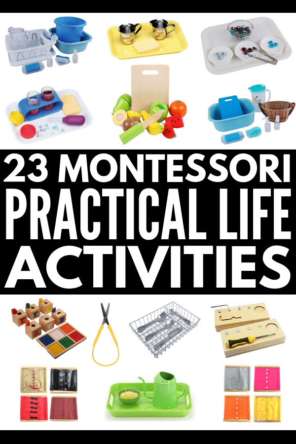 23 Montessori Practical Life Activities | Looking for hands on activities designed for different age ranges (toddlers, kindergarteners, kids aged 3-6 and 6-9) that teach practical life skills and promote independence? We're sharing 23 ideas for kids in Casa and Lower Elementary that teach the basics – matching, pouring, transferring, and lacing – and expand on them to develop fine motor skills and teach kids self-care. #montessori #montessoriactivities #practicallife #montessorimaterials