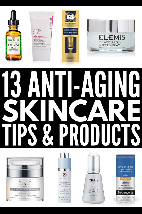 13 Anti Aging Skin Care Tips and Products | Whether you're in your 20s, 30s, 40s, or you're over 50, you're probably on the hunt for the best skin care routine tips, creams, and serums that help prevent wrinkles and reduce the appearance of fine lines. We're sharing our best beauty hacks and drugstore products to make you look younger and feel your best 24/7. #antiagingskincare #antiagingskincaretips #skincareover50 #drugstoreskincare