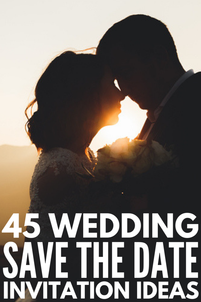 45 Save the Date Wedding Invitation Ideas | If you're looking for DIY, classy, elegant, unique, creative, funny, and/or destination wedding invitation ideas that are budget-friendly but don't look like cheap homemade crafts you made with construction paper (LOL!), this collection of ideas will inspire you! Whether you print and mail these, or opt to create a free printable you can send via email, the sky is the limit! #savethedateideas #savethedateinvitations #weddinginvitations