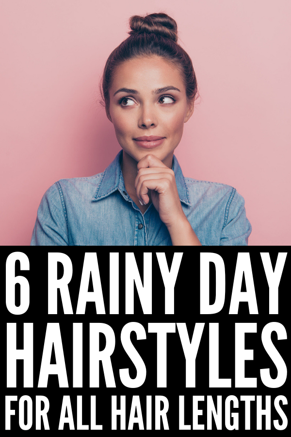 Rainy Day Hairstyles We Love | Does your hair get frizzy on hot, humid, and/or rainy days? Mine too! We're sharing our best frizz fighting tips, hacks, products, and natural home remedies, as well as some super cute and easy hairstyles for short hair, shoulder-length hair, and for long hair. From the perfect updo, to messy buns, to adorable half up looks, to sleek braids, these styles and hair tutorials are perfect for work and for school! #frizzyhair #frizzyhairstyles #frizzyhairsolution