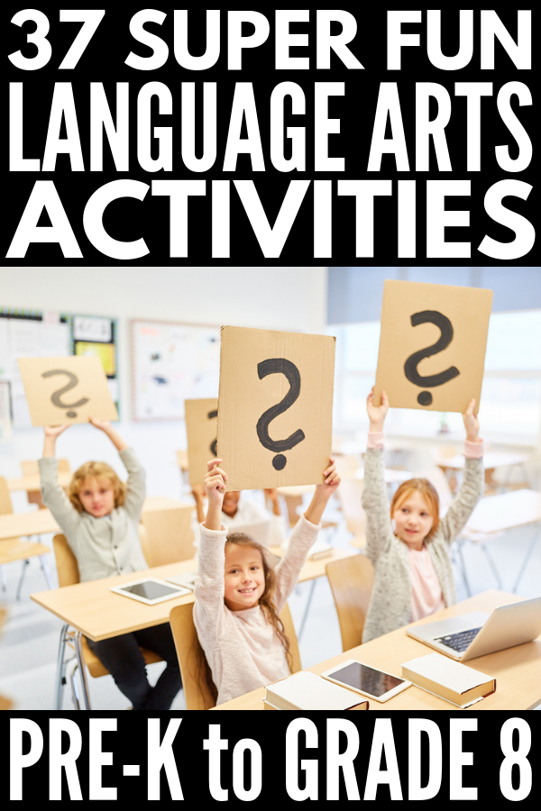 Language Arts Games & Activities for Kids | A collection of 37 fun ways to teach language & literature to kids in kindergarten, elementary, & middle school! The ideas are perfect for independent work & literacy centers, as well as for kids working in small groups. Includes letters, beginning sounds, guided reading, grammar, parts of speech, sentence building, spelling, vocabulary, word work, writing prompts, & more! #languagearts #literacy #literacycenters #grammar #partsofspeech