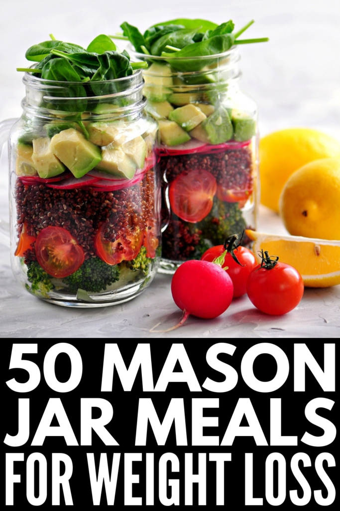 50 Mason Jar Meals for Weight Loss | If you're looking for healthy, make ahead meals to help you lose weight, this post has it all! From overnight oats and other breakfast favorites, to mason jar salad recipes for lunch, to mason jar dinner recipes and our favorite dessert in a jar ideas, these easy clean eating recipes are perfect for on the go, and make meal prep a cinch! #masonjarrecipes #masonjarmeals #mealprep