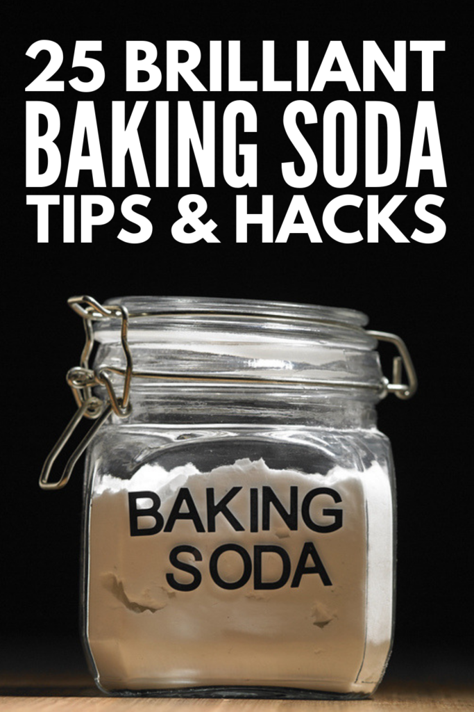 25 Baking Soda Uses Everyone Needs to Know | Did you know you can use baking soda for cleaning, as an air freshener, to neutralize odors in your home, and to brighten laundry? It's also great for PH balance, to ease an upset stomach, for skin, hair, and beauty care, to whiten teeth, to clean hands and nails, and as part of your skincare routine. There are so many uses for baking soda, and we're sharing 25 natural remedies everyone needs to try! #bakingsodauses #bakingsodetips #bakingsodahacks